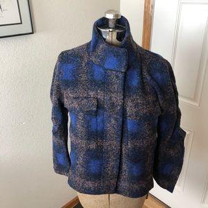 NWT Line & Dot Blue Buffalo Plaid Check Wool Coat